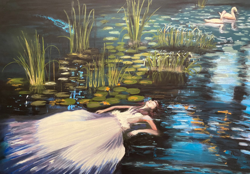 Leta and the Swan, Shawn Dell Joyce Pastel on Ampersand Pastelbord 18x24.JPG