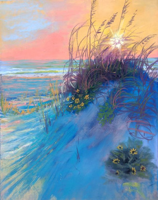 Sunset through the Sea Oats, Shawn Dell Joyce, Pastel SOLD 12x14