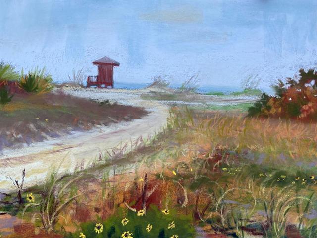 Foggy Day in Sand Key Plein Air painting