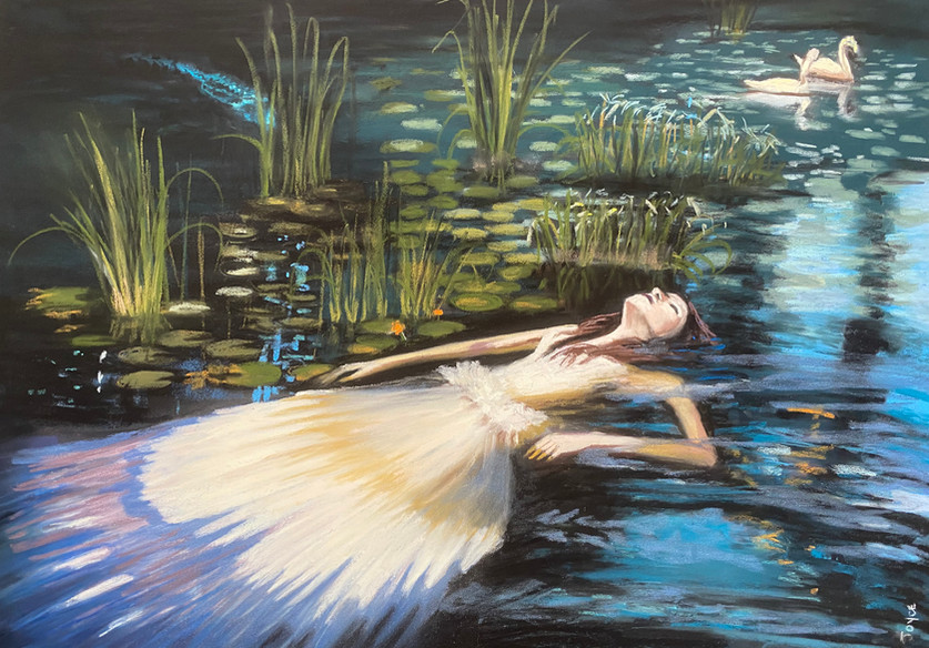 Leta and the Swan, Shawn Dell Joyce, Pastel on Ampersand Pastelbord 18x24 2021.JPG