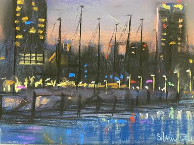 Demen's After Dark, Pastel on Ampersand Pastelbord, 6x8 $250
