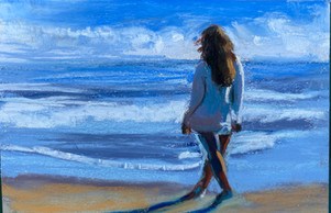 Walk on the Beach 5x7 Pastel