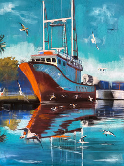 Birds of a Feather, Pastel, 18x24 Nautical Painting$1200