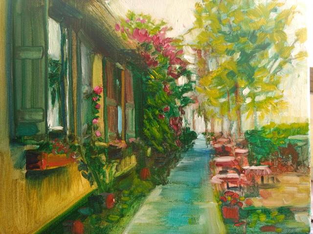 Pia's Sidewalk (Gulfport) Oil on Canvas,