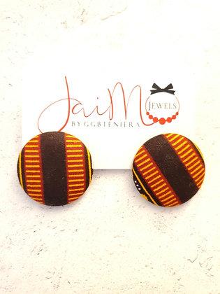 Brown dashiki button earrings