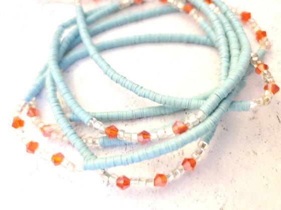 Turquoise & orange waist beads