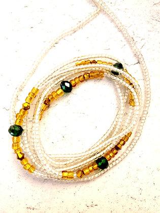 Golden emerald crystal waist beads