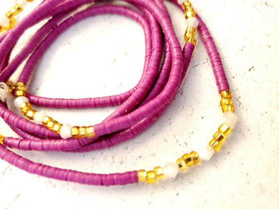 Purple golden white waist beads