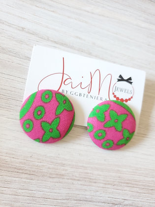 Pink & green flower button earrings