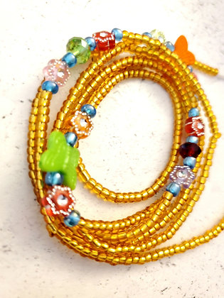 Gold Butterflies & flowers waist beads