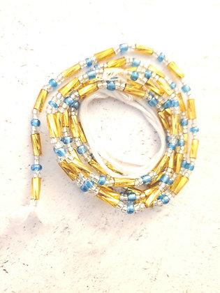 Golden blue waist beads
