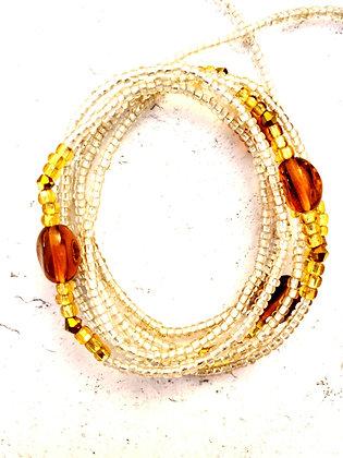 Golden brown clear waist beads