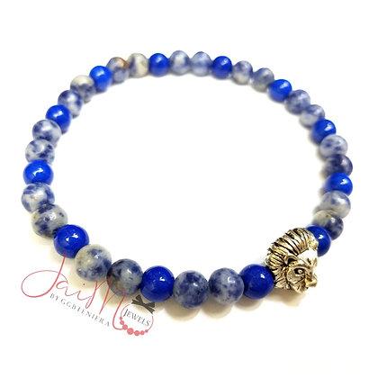 Blue Leo gemstone bracelet