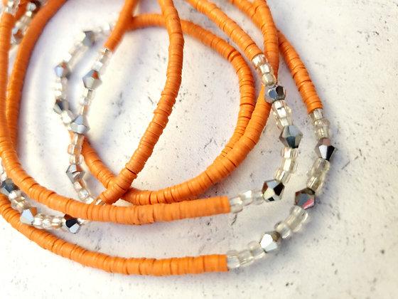 Bright orange & silver waist beads