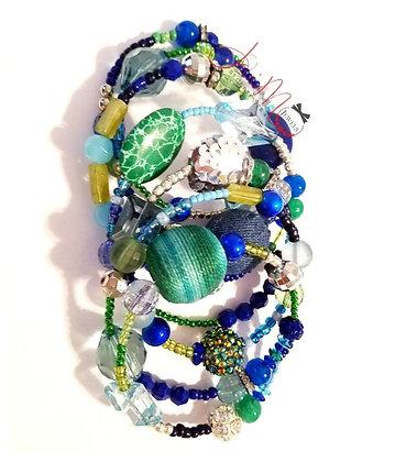 Green and blue w/silver wrap bracelet