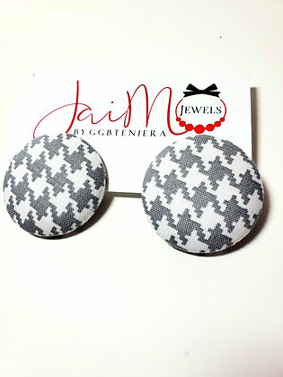Gray & White Houndstooth button earrings