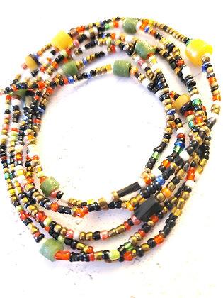 Black multi waist beads