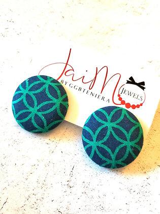 Blue green button earrings
