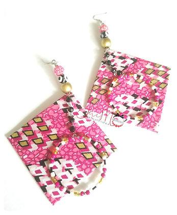 Pink African print hoop dangle earrings