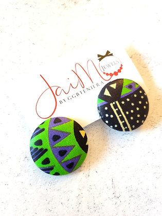 Dark & fun button earrings
