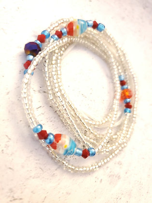Crystals clear red and blue waist beads