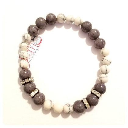 Gray and white rondelle bracelet
