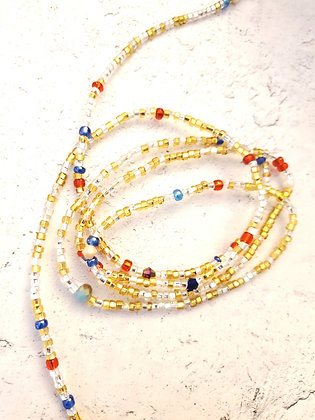 Golden red & blue waist beads