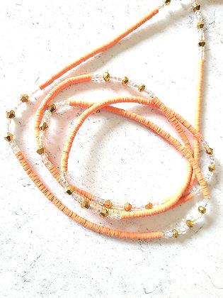 Bright orange & gold waist beads