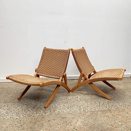 Japanese woven armchairs | Pair