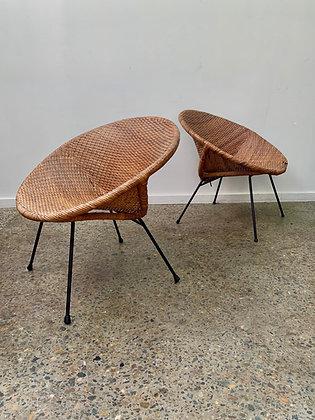 Vintage cane saucer chair/single
