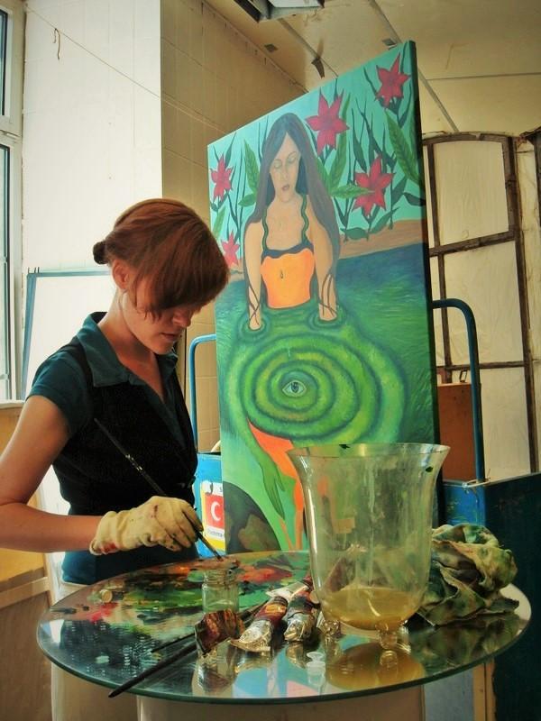 Art in porgress, beim malen mit Ölfarben