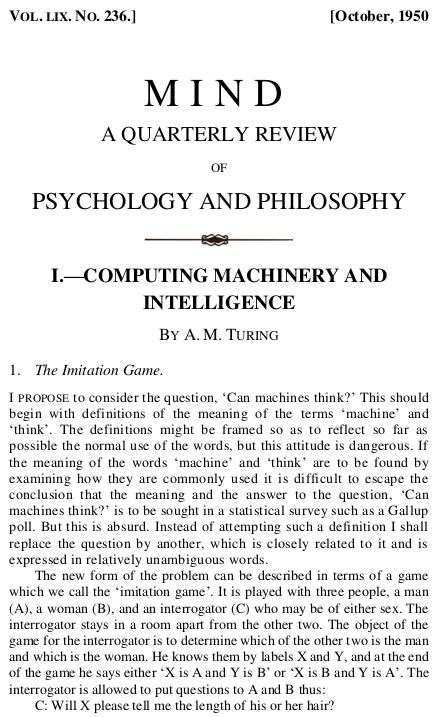 """La prima pagina della pubblicazione del 1950 di Alan Turing descrive il """"gioco dell'imitazione""""."""