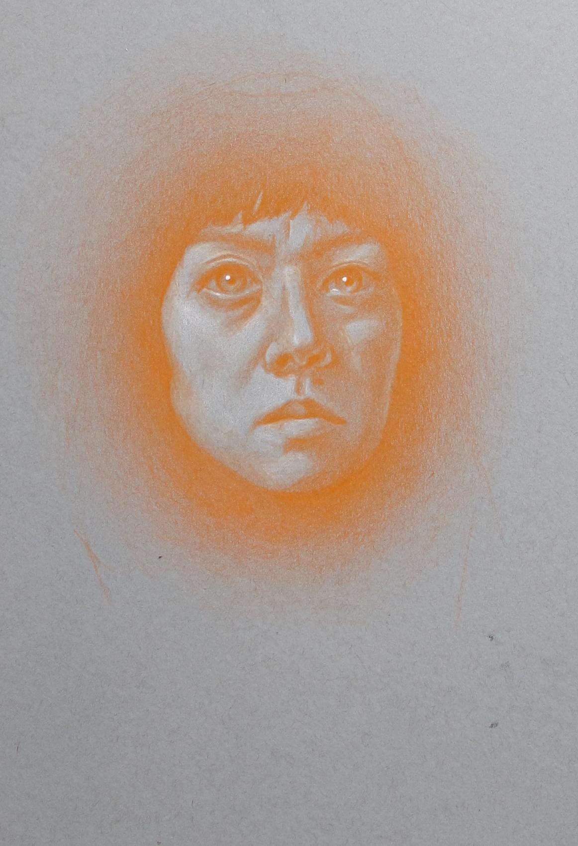 Quarantine Self-portrait (Tired in Orange)