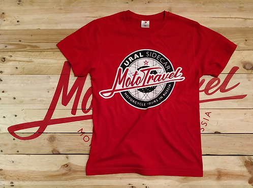 URAL MOTOTRAVEL logo T-shirt RED