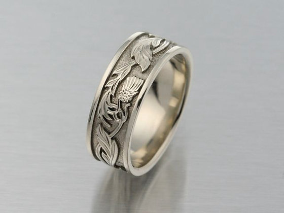 Celtic Thistle 7mm Wide 14K White