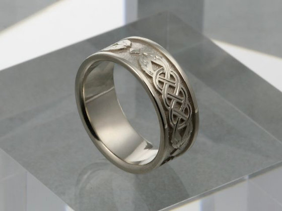 Celtic Knot 7mm 14K White Band