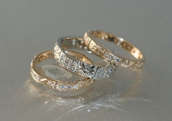 Pave Flower 3mm or 4mm Band