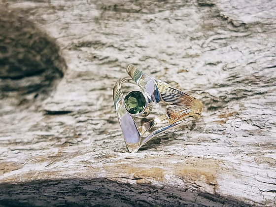 Two Tone Ginkgo leaf Tourmaline Ring