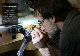 Ben Stewart inspecting the diamond setting