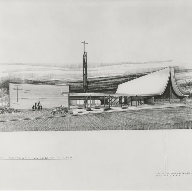 Von Grossmann Architects' drawing for the design of Covenant Lutheran Church. Courtesy of the Milwaukee County Historical Society.