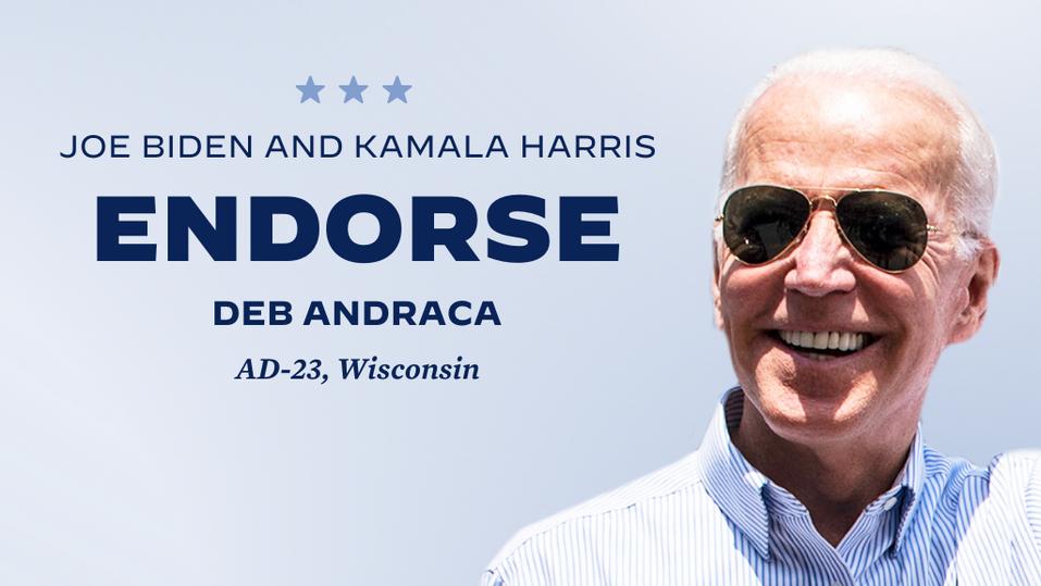 Endorsed by Joe Biden and Kamala Harris