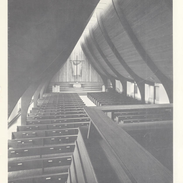 Laminated timber beams support the roof and windows along the ridge let natural light into the church. Courtesy of the Milwaukee County Historical Society.