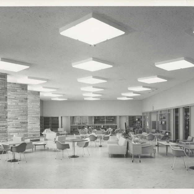 A study space inside Nicolet High School features iconic mid century Charles and Ray Eames chairs. Courtesy of the Milwaukee County Historical Society.