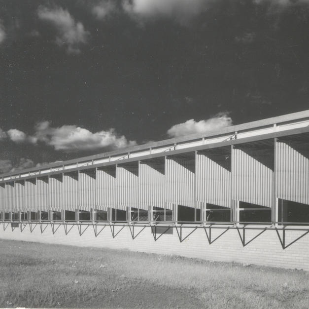 Sun screens on the west side of the high school control natural light. Courtesy of the Milwaukee County Historical Society.