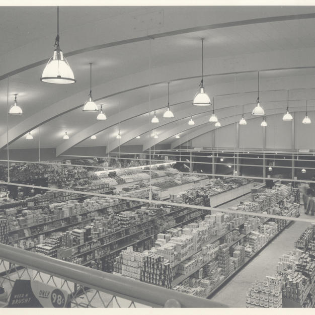 The large wood beams that support the arched roof are exposed inside Kohl's Food stores. Courtesy of the Milwaukee County Historical Society.