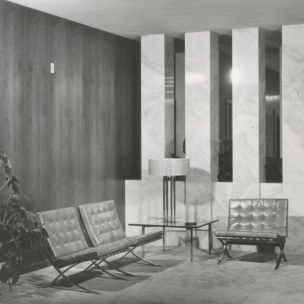 Chairs designed by famous modernist architect Ludwig Mies Van Der Rohe in the lobby of the State Masonic Headquarters. Courtesy of the Milwaukee County Historical Society.