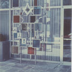 Fritz Von Grossmann commissioned Milwaukee artist Schomer Lichtner to create a glass and aluminum installation outside of the building's entrance. Courtesy of the Milwaukee County Historical Society.