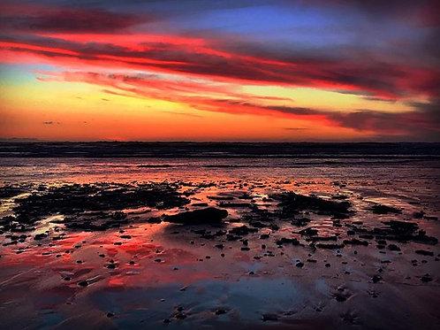 "A4 "" The beach tonight Red Debris strewn """