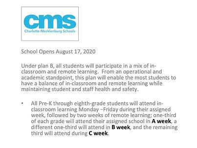 CMS School Opening Announcement 8-17-20.