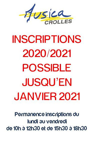 Affiche Inscriptions possible 2020-2021